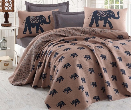 Lenjerie de pat Double Pique Elephant Brown Dark Blue