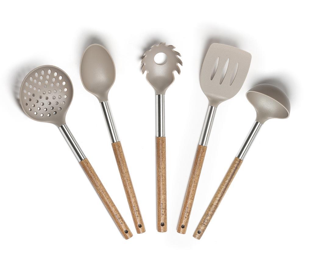 Set 5 ustensile de bucatarie Macacia - Excelsa, Gri & Argintiu