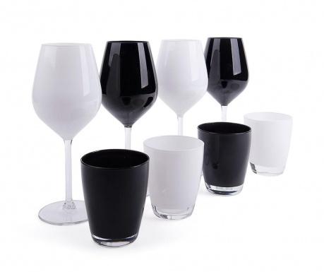 Sada 8 pohárov Faye Black & White