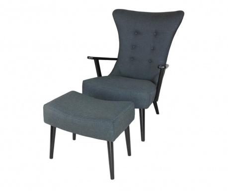 Zestaw fotel i podnóżek Andrew Dark Grey Black