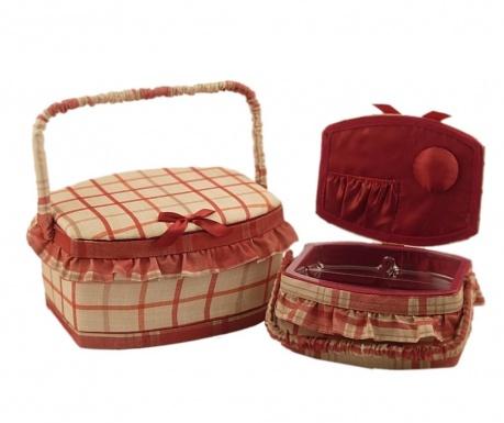 Set 2 košaric za šivalni pribor Bombata Red