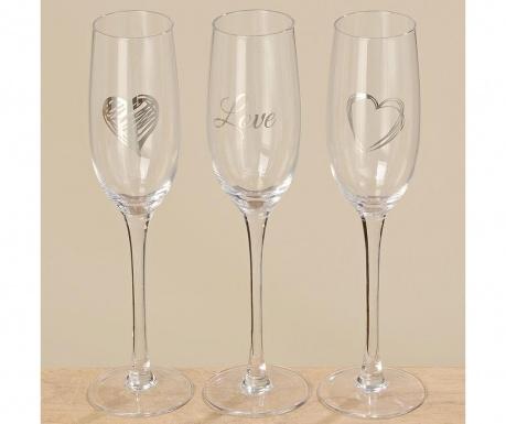 Комплект 3 чаши за шампанско Champagne Heart 250 мл