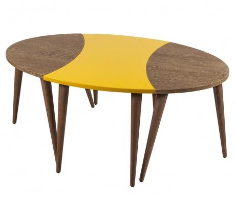 Oval Brown Yellow 3 db Asztalka