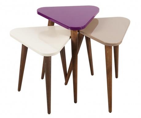 Set 3 masute Trigon Cream Purple Light Brown