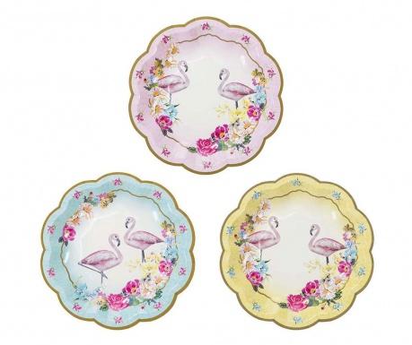 Комплект 12 чинии за еднократна употреба Truly Flamingo