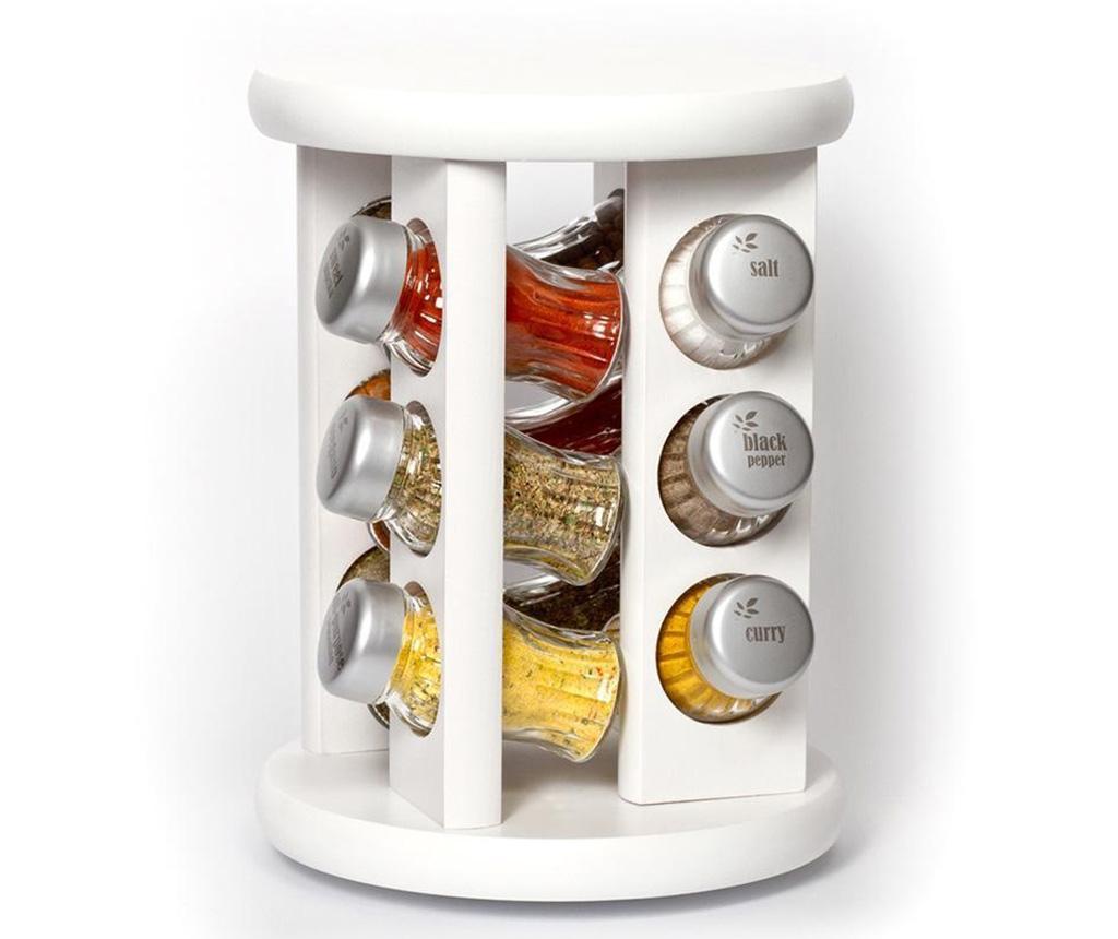 Set 12 recipiente cu condimente si suport rotativ Carousel White - GALD, Alb