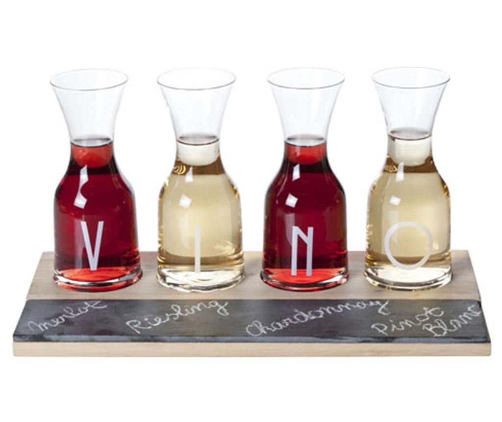 Set 4 pahare si suport Vino - Cosy & Trendy, Alb