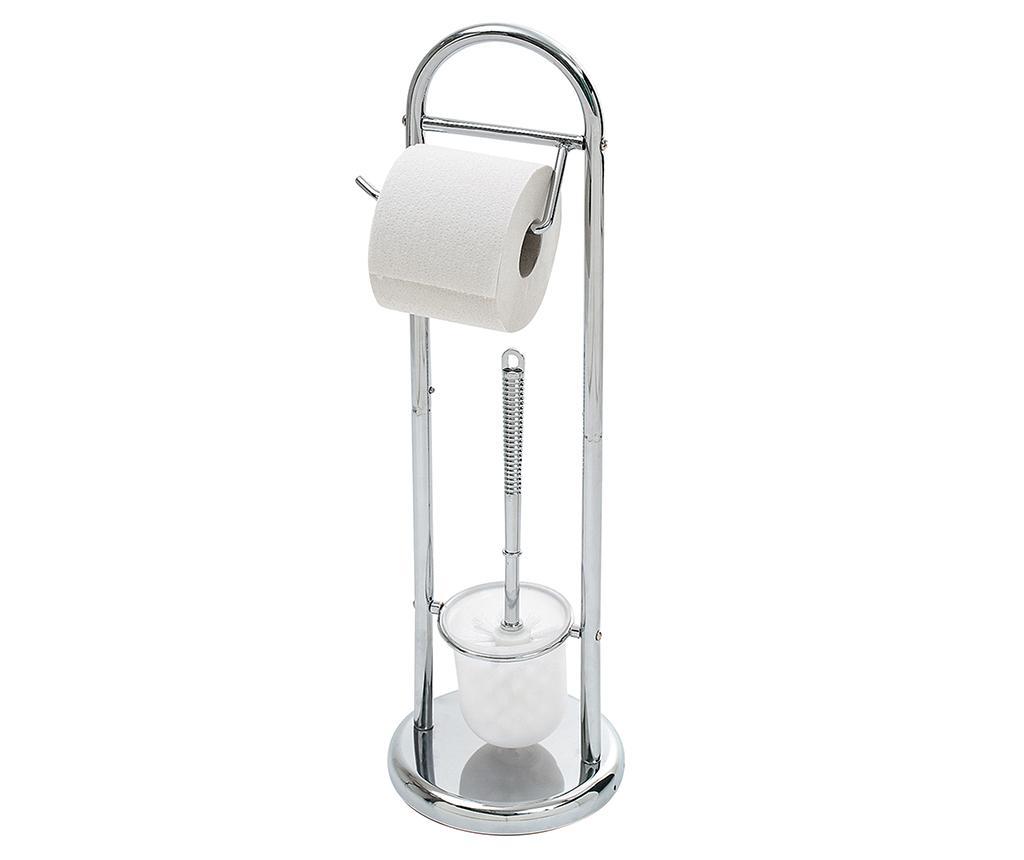 Suport pentru hartie igienica si perie de toaleta Roller - Axentia, Gri & Argintiu