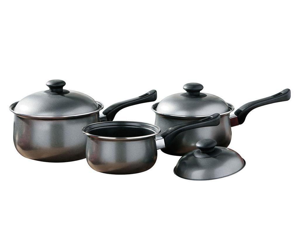 Set 3 cratite cu capac Belly Pan Silver - Premier, Gri & Argintiu
