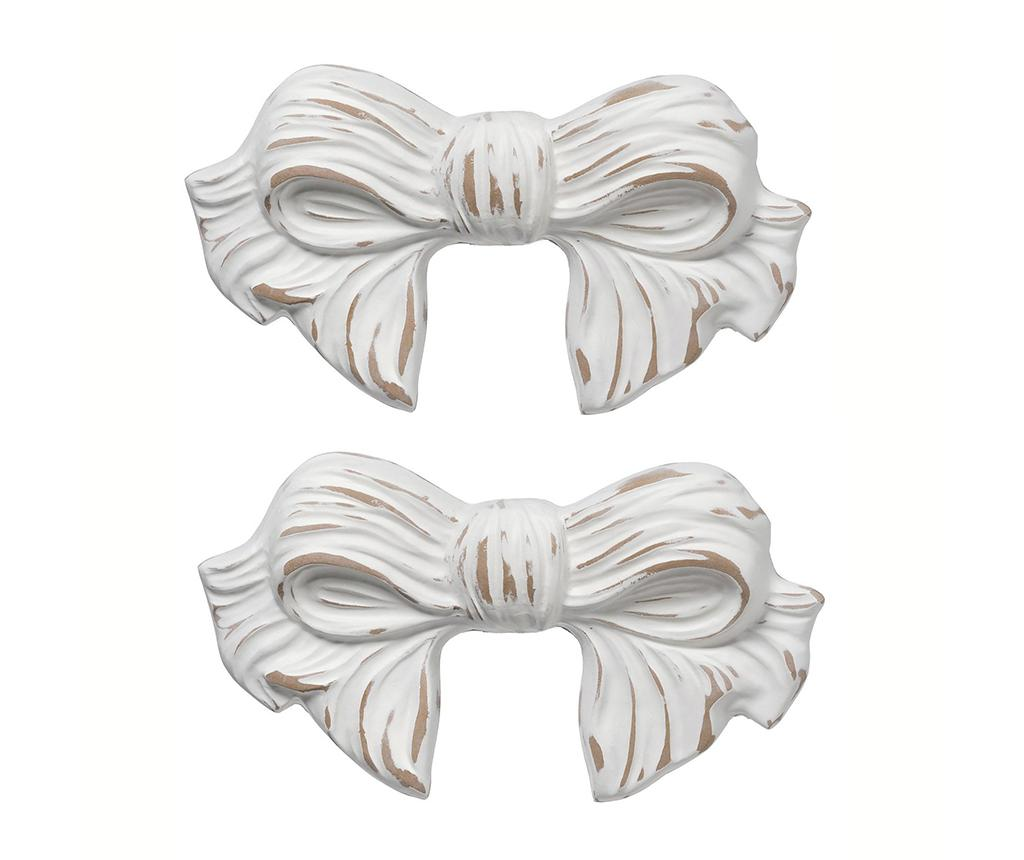 Set 2 decoratiuni de perete Ribbon Antique White - Bolzonella, Alb