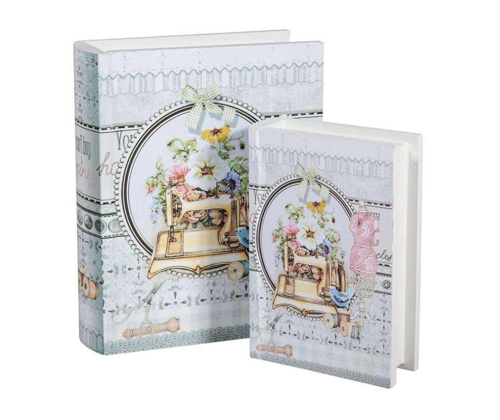 Set 2 cutii tip carte pentru accesorii de cusut Romantic - Creaciones Meng, Alb,Gri & Argintiu