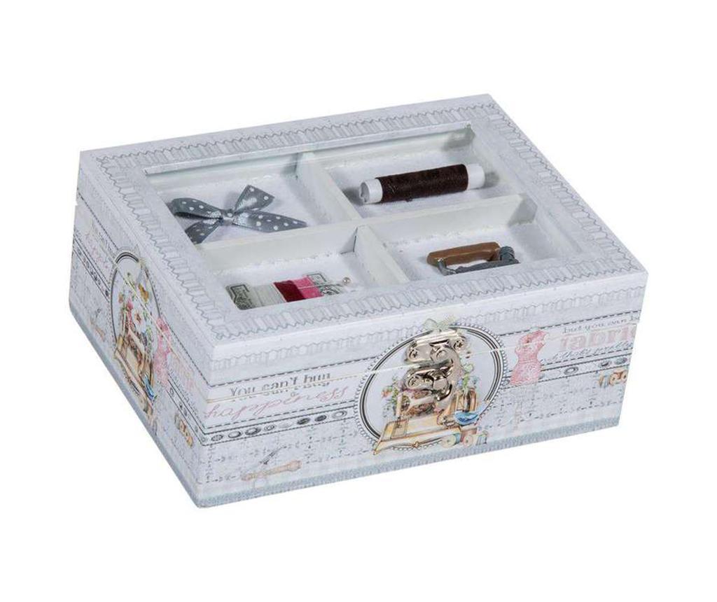 Cutie cu capac pentru accesorii de cusut Romantic - Creaciones Meng, Alb,Gri & Argintiu