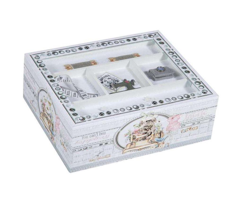 Cutie cu capac pentru accesorii de cusut Romantic Sewing - Creaciones Meng, Gri & Argintiu