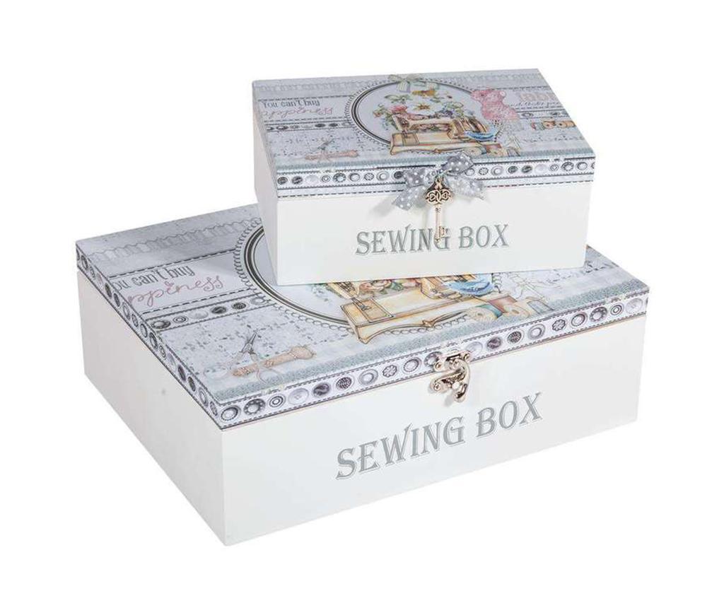 Set 2 cutii cu capac pentru accesorii de cusut Romantic - Creaciones Meng, Alb,Gri & Argintiu