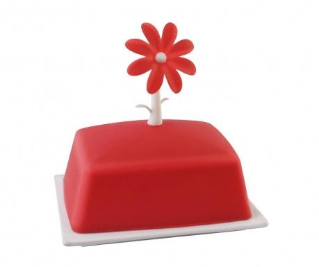 Βουτυριέρα με καπάκι Livio Flower Red