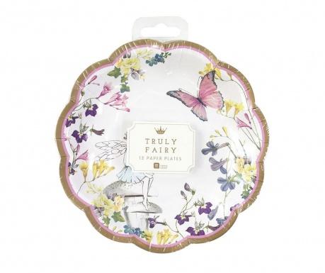 Set 12 krožnikov za enkratno uporabo Fairy