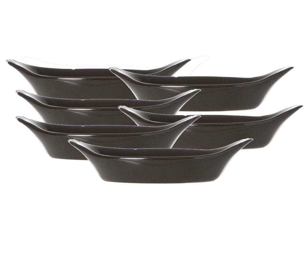 Set 6 zdjela za predjela Black Long 45 ml