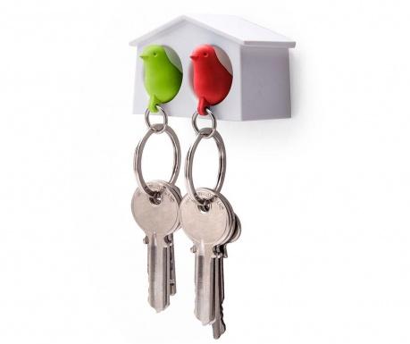 Set 2 brelocuri si suport pentru chei Mini Sparrow Green Red