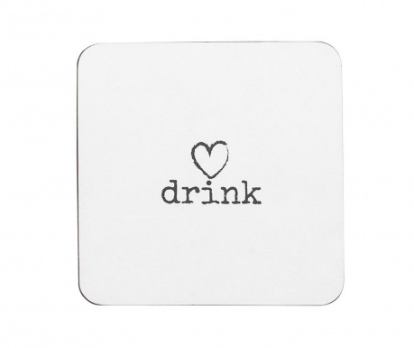 Set of 4 coasters Drink Heart