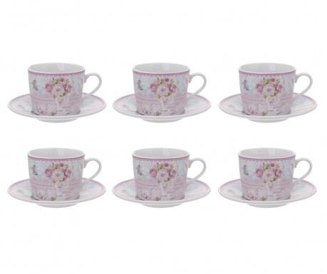 Set  6 cesti si 6 farfurioare pentru ceai Romantic Roses