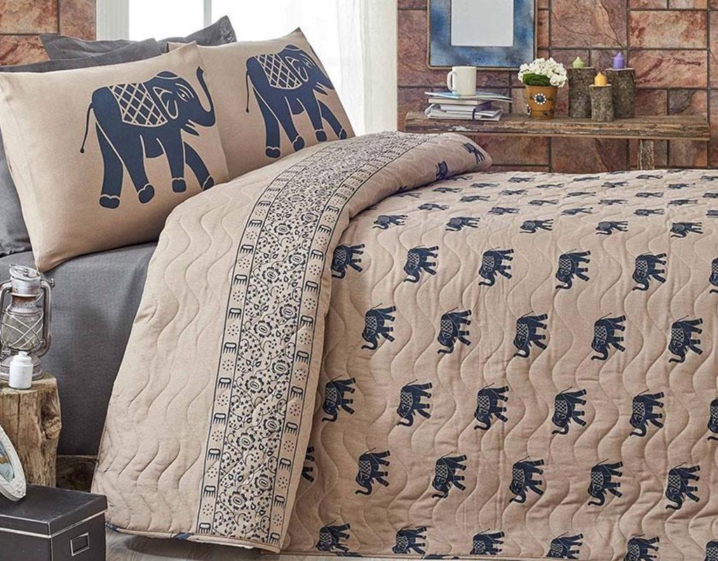 Set prošiveni prekrivač Double Elephant Brown Dark Blue