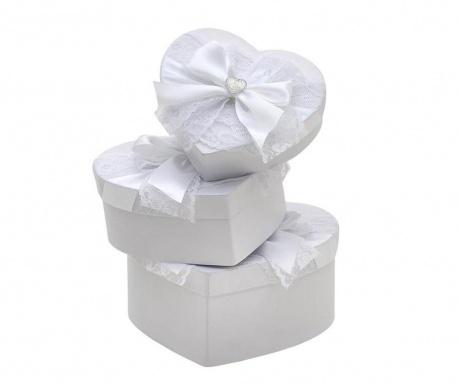 Love White Bow 3 db Doboz fedővel