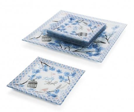 Tamiko Blue 6 db Desszertes tányér és szervírozó tál