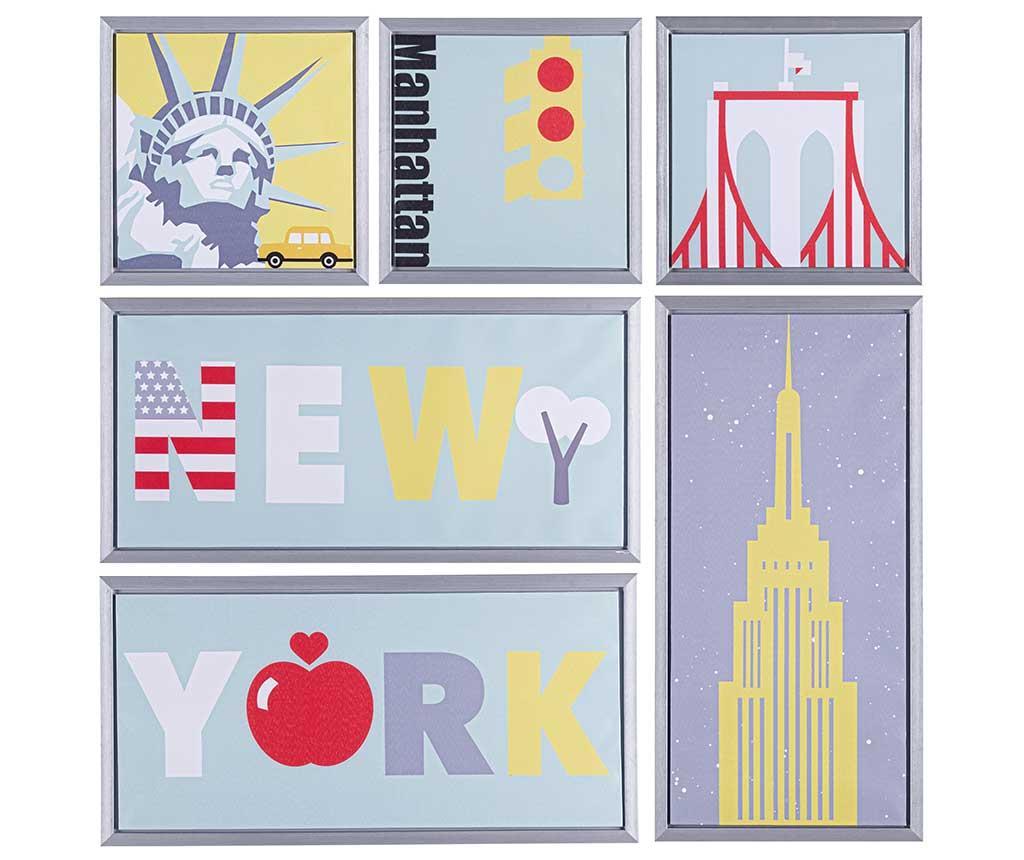 Set 6 tablouri New York - Bizzotto, Albastru