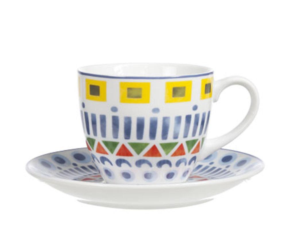 Set 6 cesti si 6 farfurioare Maya Cappuccino - Cosy & Trendy, Multicolor