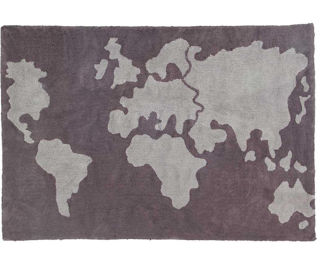 Covor World Map 120x160 cm - Lorena Canals, Gri & Argintiu