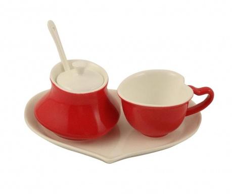 Комплект за чай 5 части Heart Red