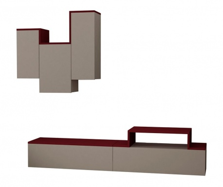 Set komoda TV i viseći element Tirtil Light Mocha Claret Red