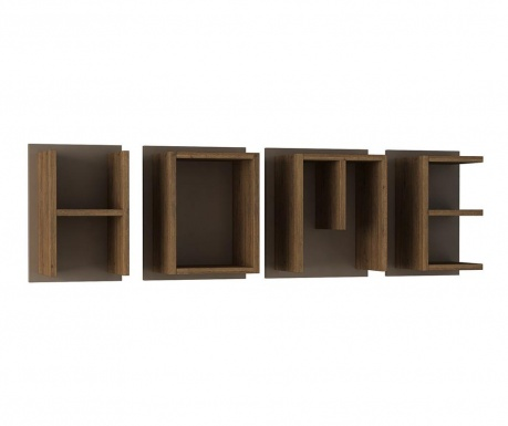 Set 4 rafturi de perete Home Brown Light Mocha