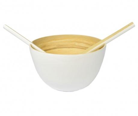 Комплект купа и 2 прибора за салата Bamboo Life White