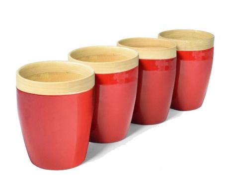 Сервиз 4 чаши Bamboo Life Red 300 мл