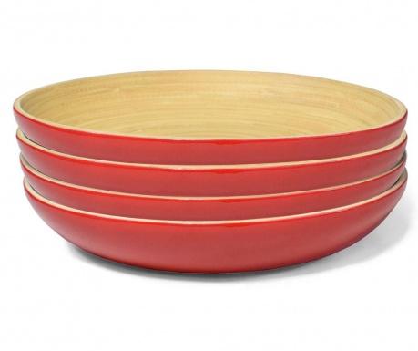 Сервиз 4 дълбоки чинии Bamboo Life Red