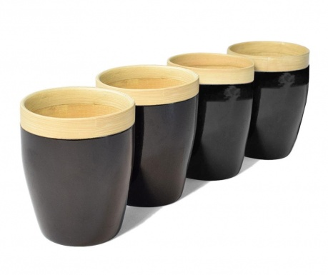 Set 4 pahare Bamboo Life Black 300 ml