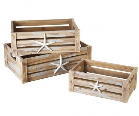 Sada 3 skladovacie krabice Nevan Starfish