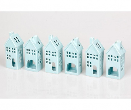 House Blue 6 db Gyertyatartó