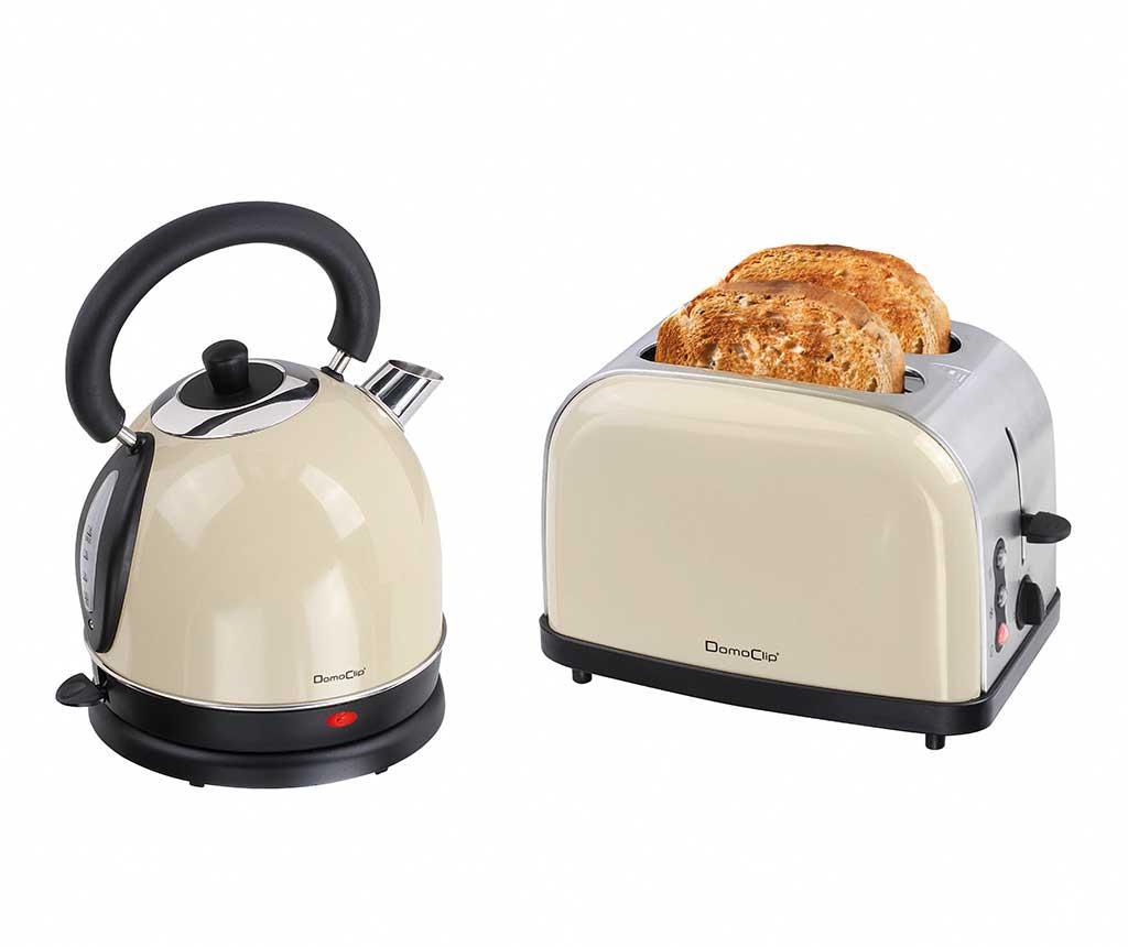 Set prajitor de paine si fierbator electric Vintage Breakfast Cream - DomoClip, Crem imagine 2021