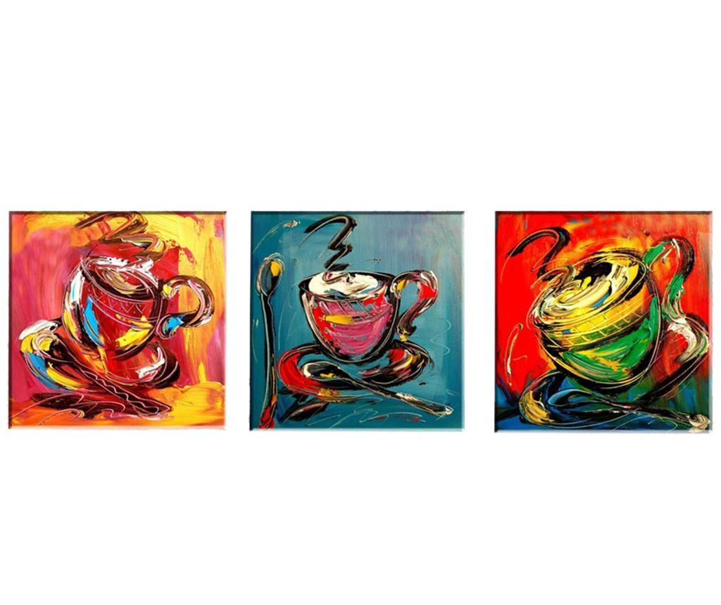 Sada 3 obrazů Coffee 30x30 cm