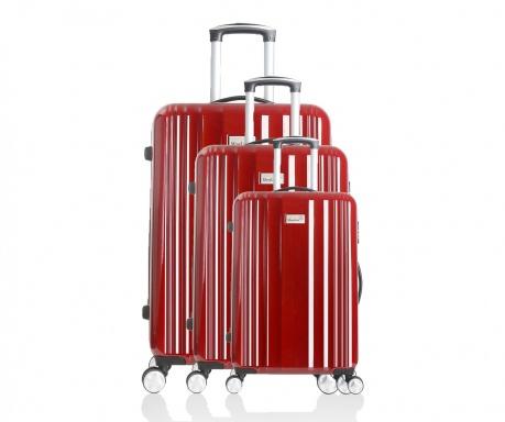 Porto Red 3 db Gurulós  bőrönd
