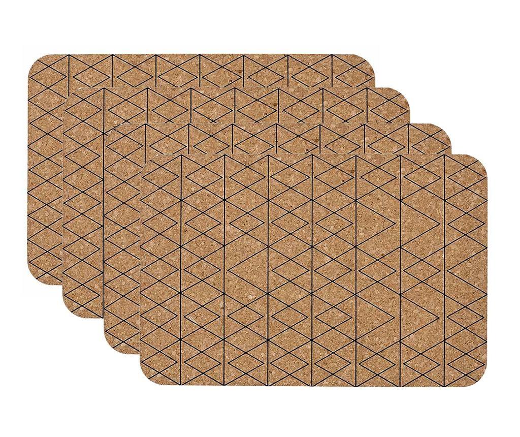 Zestaw 4 podkładek stołowych Mali Black 30x45 cm