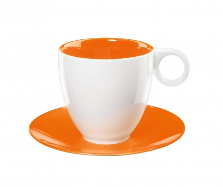 Set 6 cesti si 6 farfurioare Colour It Coffee Orange