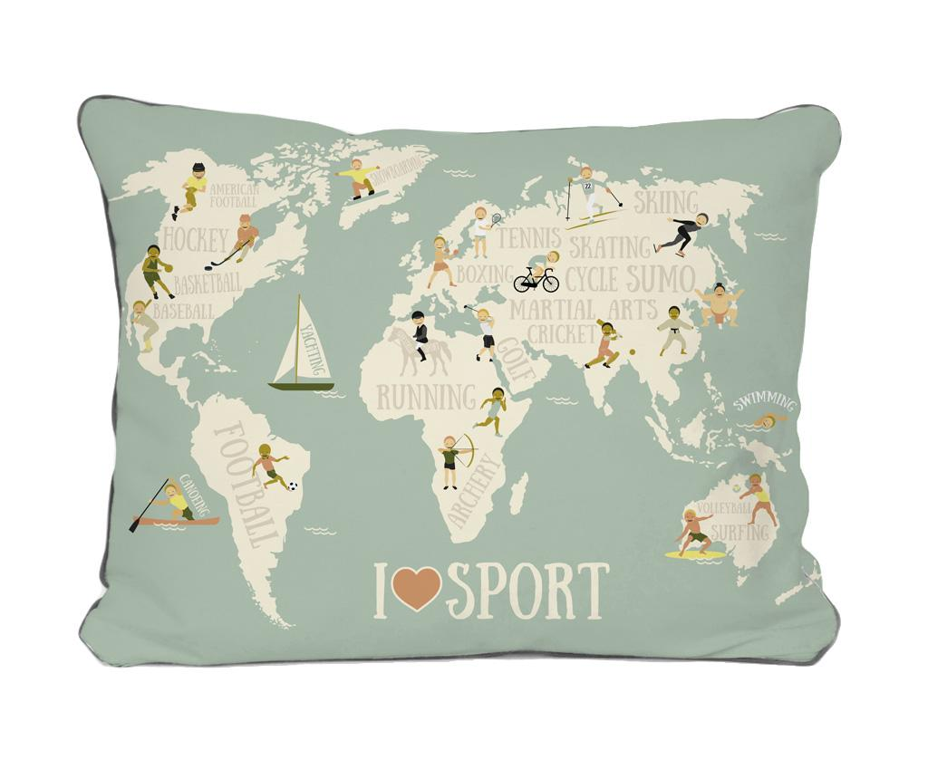 Perna decorativa Mapamundi Sports 35x50 cm - The Wild Hug, Albastru