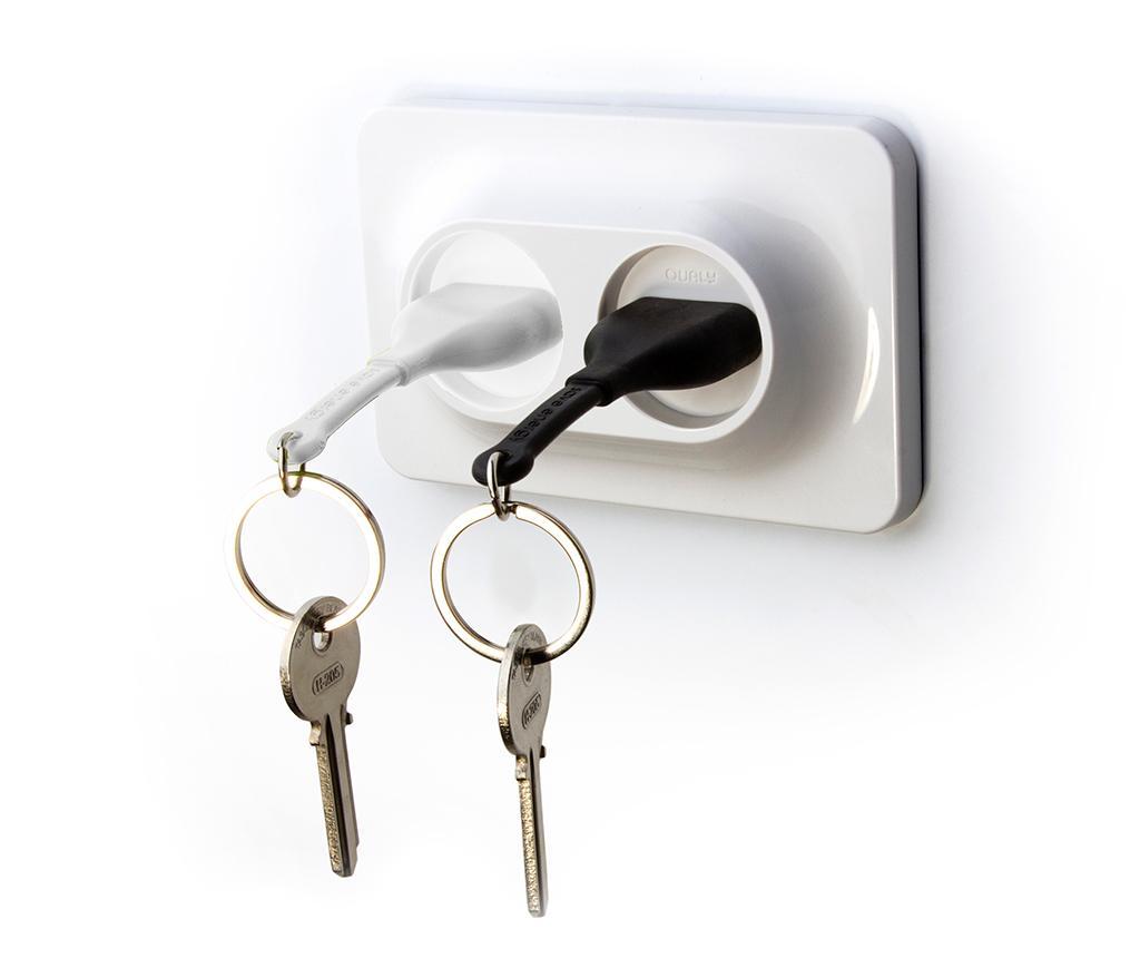 Set 2 brelocuri si suport pentru chei Double Unplug Black White - Qualy