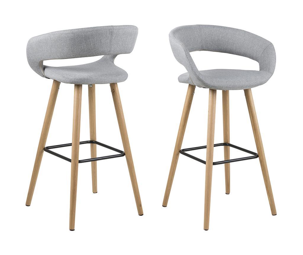 Set 2 scaune de bar Grace Light Grey - actona, Gri & Argintiu