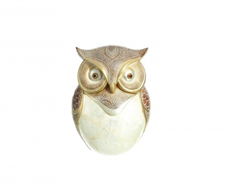 Dekorácia Owl White Golden