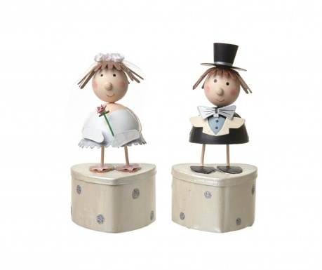 Set of 2 boxes with cover Bride and Groom