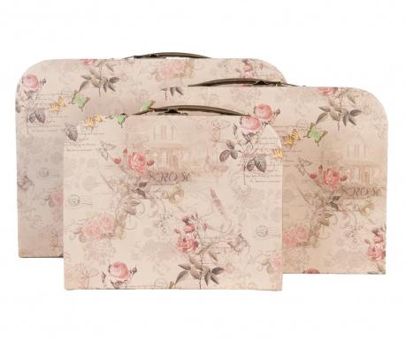 Zestaw  3 walizek dekoracyjnych Roses